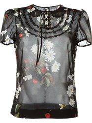 Red Valentino Cherry Print Shortsleeved Blouse Black
