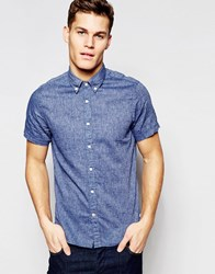 Tommy Hilfiger Shirt With Short Sleeves In Slim Fit Blue Chambray Blue