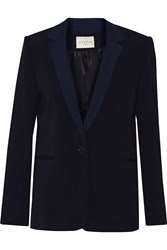 Sandro Vilany Stretch Knit Trimmed Crepe Blazer Blue