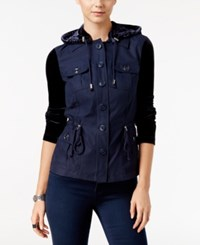 Inc International Concepts Velvet Utility Jacket Only At Macy's Deep Twilight