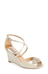 Women's Badgley Mischka 'Abigail' Peep Toe Wedge Ivory Satin