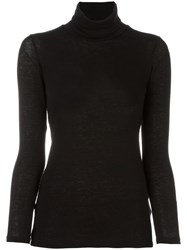 Issey Miyake Cauliflower Turtle Neck Fine Knit Top Black