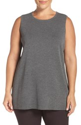 Eileen Fisher Plus Size Women's Washable Wool Crepe Round Neck Long Tank
