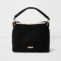 River Island Womens Black Panel Whipstitch Slouch Bag