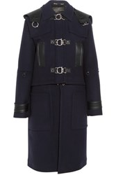 Versace Convertible Hooded Leather Trimmed Wool Felt Coat Navy