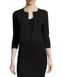 Neiman Marcus Textured Stripe Cropped Open Jacket Black