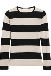 Max Mara Adone Striped Silk And Cashmere Blend Sweater Black