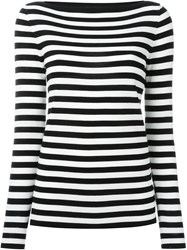 Michael Kors Striped Boat Neck Sweater White