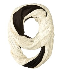 Plush Fleece Lined Xo Cable Infinity Scarf Oatmeal Scarves Brown