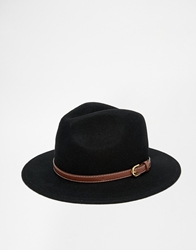Asos Wide Brim Fedora With Leather Look Trim Black
