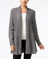 Ny Collection Marled Knit Open Front Cardigan Black White Marled