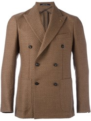 Tagliatore Peaked Lapels Double Breasted Coat Nude And Neutrals