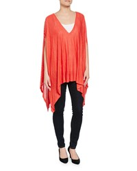 Minnie Rose Space Dye V Neck Poncho Coral Combo