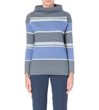 Armani Collezioni Turtleneck Striped Jumper Blue