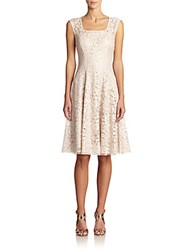 Kay Unger Bonded Lace Cap Sleeve Dress Bisque