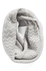 Women's Halogen Chevron Jacquard Wool And Cashmere Infinity Scarf Grey Grey Combo