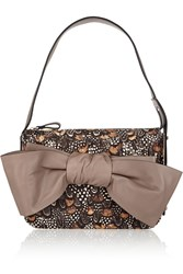 Valentino Bow Embellished Feather Print Calf Hair Shoulder Bag Brown