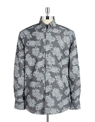 Report Collection Paisley Cotton Sportshirt Grey
