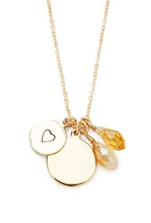 Forever 21 Disc Charm Longline Necklace Gold Brown