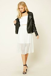 Forever 21 Ribbed Knit Crochet Lace Skirt White Silver