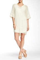 Daniel Rainn 3 4 Sleeve Eyelet Trim Shift Dress White