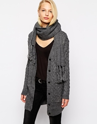 Mango Cable Longline Cardi With Chunky Scarf Grey