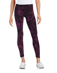 Kensie Tie Dye Athletic Leggings Plummy