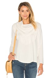 Central Park West Toulouse Fringe Turtleneck Sweater White
