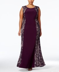 R And M Richards Plus Size Lace Panel Gown Plum