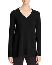 Bloomingdale's C By Arched Hem Cashmere Sweater Black