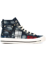 Diesel Tartan Patch Hi Top Sneakers Blue