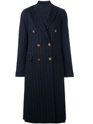 Brunello Cucinelli Double Breasted Pinstripe Coat Blue