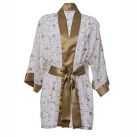Roses Are Red Sonata For The Dawn Silk Kimono Ivory White Gold Yellow