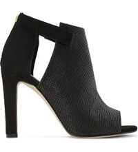 Dune Cersei Peep Toe Textured Leather Ankle Boots Black Reptile