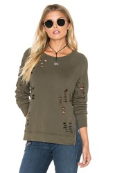 Black Orchid Side Zip Distressed Sweatshirt Olive