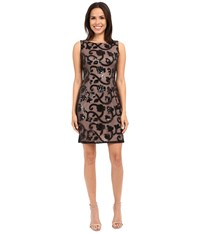 Adrianna Papell Sleeveless Sequin Mesh Cocktail Dress Black Women's Dress