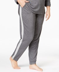 Karen Neuburger Plus Size Contrast Panel Pajama Pants Heather Grey