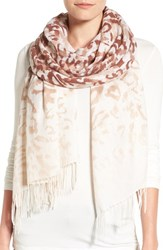 Nordstrom Women's Washed Leopard Print Wool And Cashmere Scarf Brown Combo