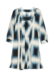 Fendi Neon Print Silk Georgette Tunic Dress Blue Multi