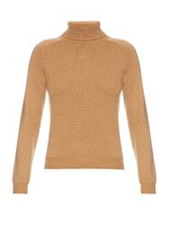 Saint Laurent Roll Neck Cashmere Sweater Camel