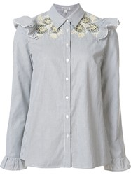 Suno Embroidered Ruffle Blouse Blue