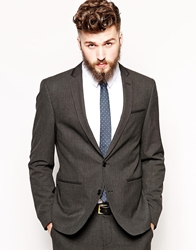 Asos Skinny Fit Suit Jacket With Tipping Charcoal