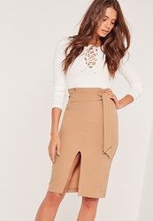 Missguided Paper Bag Waist Pencil Skirt Tan Brown