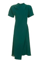Topshop High Neck Drape Midi Dress Dark Green