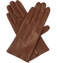 Dents Classic Silk Lined Leather Gloves Cognac