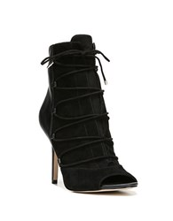 Sam Edelman Ashley Tied Lace Front Leather And Suede Booties Black