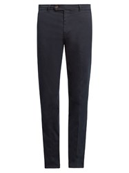 Brunello Cucinelli Slim Leg Stretch Cotton Chino Trousers Navy