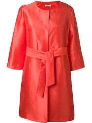 P.A.R.O.S.H. Satin Effect Belted Coat Red