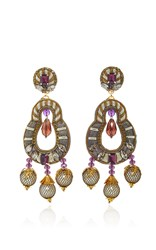 Ranjana Khan Gunmetal Amethyst Earrings Metallic