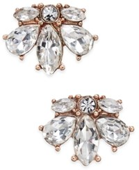Charter Club Rose Gold Tone Crystal Cluster Stud Earrings Only At Macy's